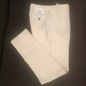White Wool Pants. Straight leg
